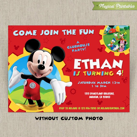 Mickey Mouse Editable Invitations