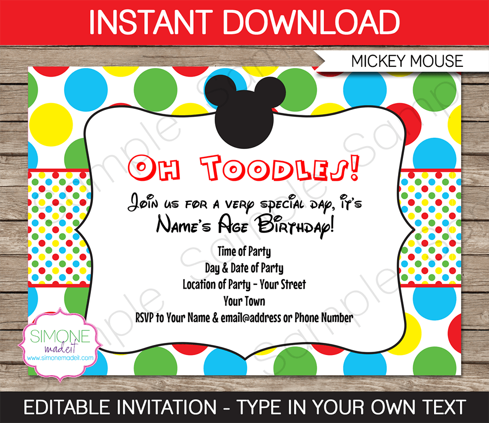 Mickey Mouse Invitation Template Download