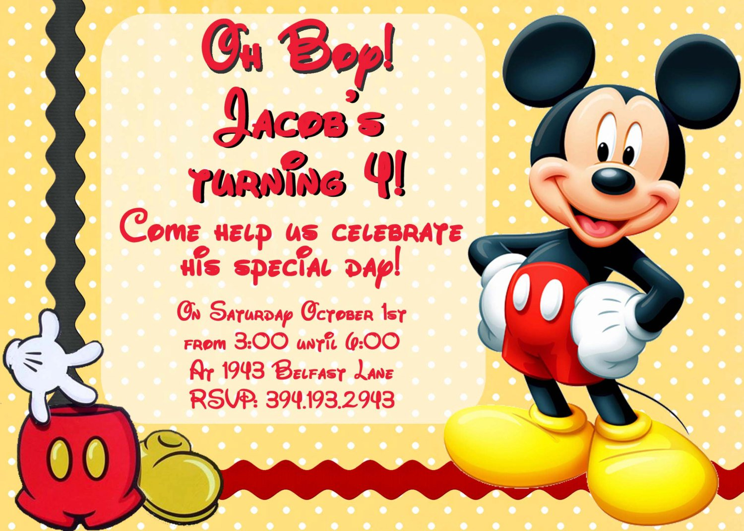 Mickey Mouse Invitation Wording Birthday