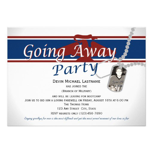Military Going Away Party Invitation Wording
