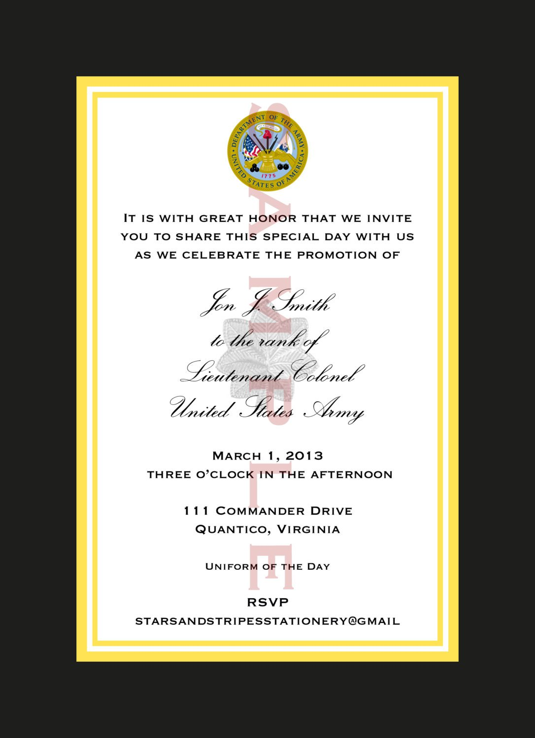 Military Promotion Invitation Templates
