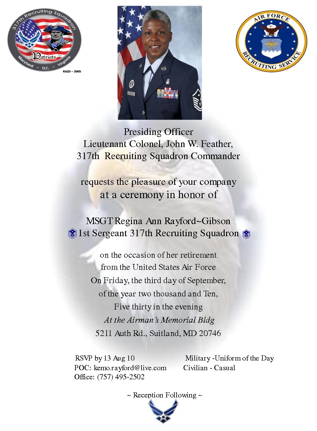Military Retirement Invitation Cards