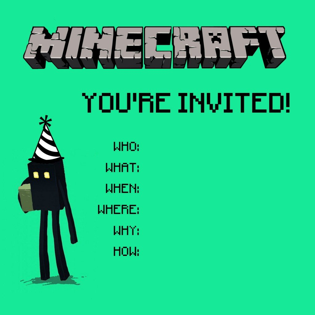 Minecraft Birthday Invitation Card Templates