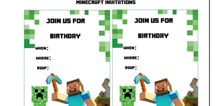 Minecraft Printable Party Invitations