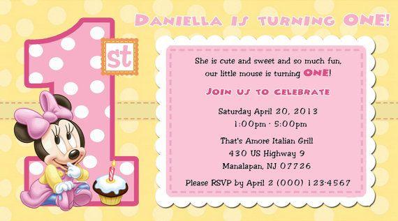 Minnie Mouse 1st Birthday Invitations Blank