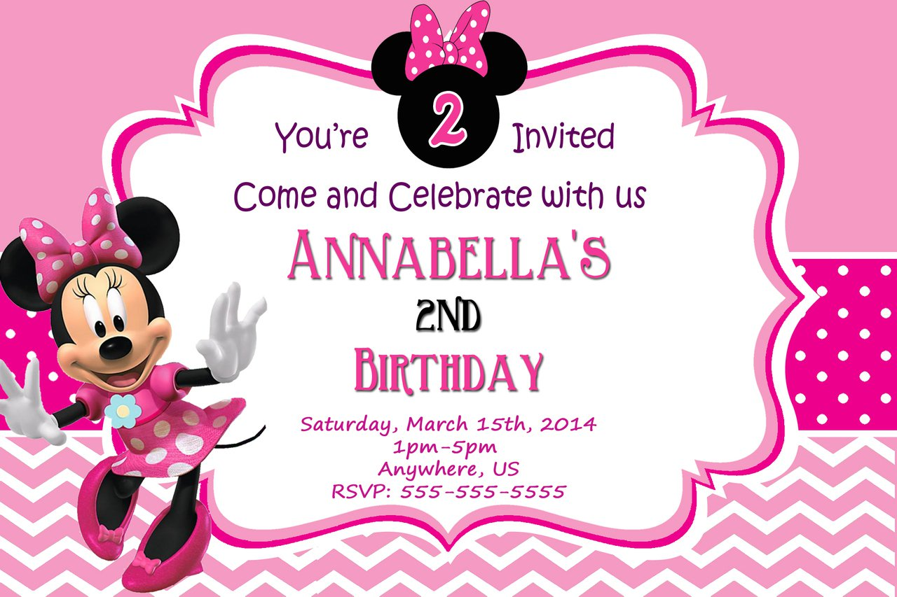 Minnie Mouse 2nd Birthday Invitations Template