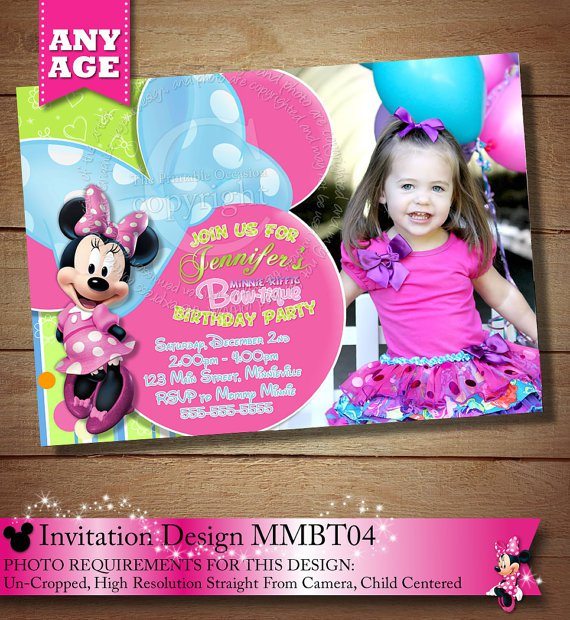Minnie Mouse Bowtique Invitation Template