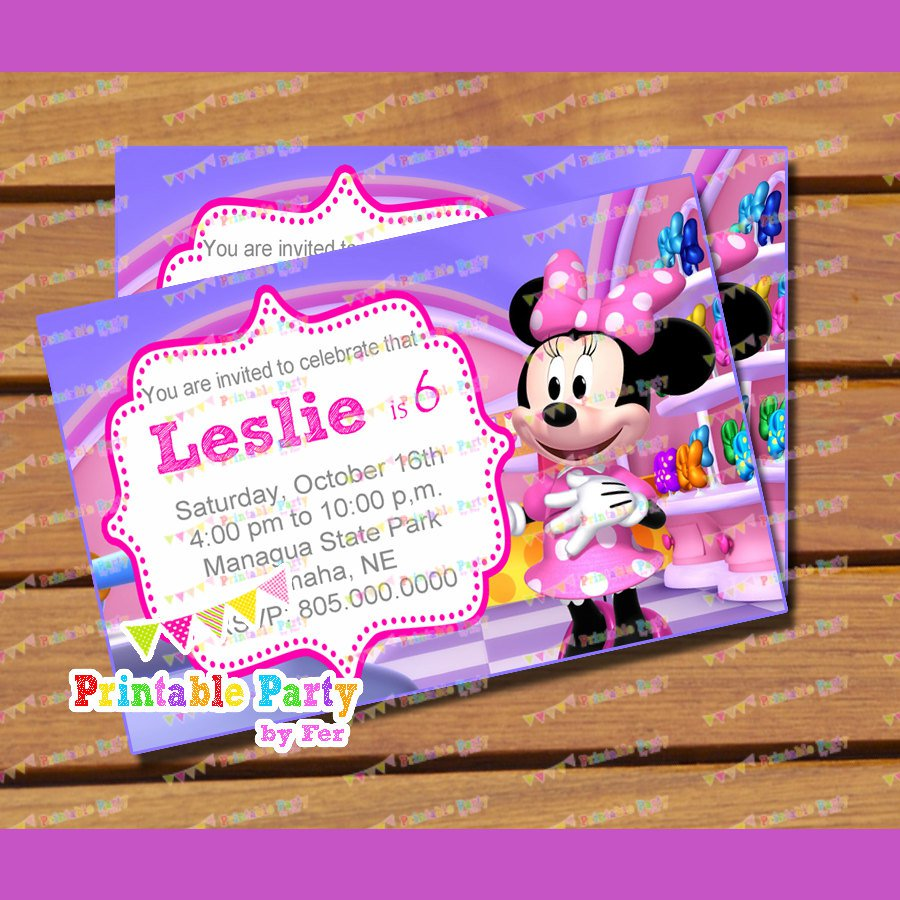minnie mouse bowtique invitations