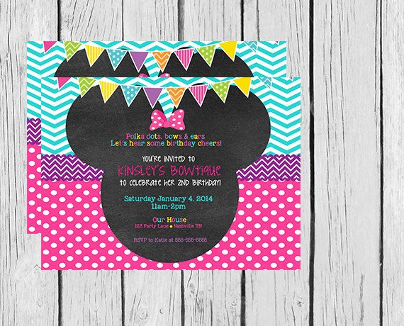 Minnie Mouse Bowtique Party Invitations