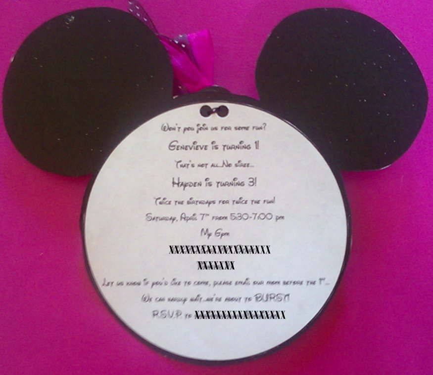 Minnie Mouse Homemade Invitations