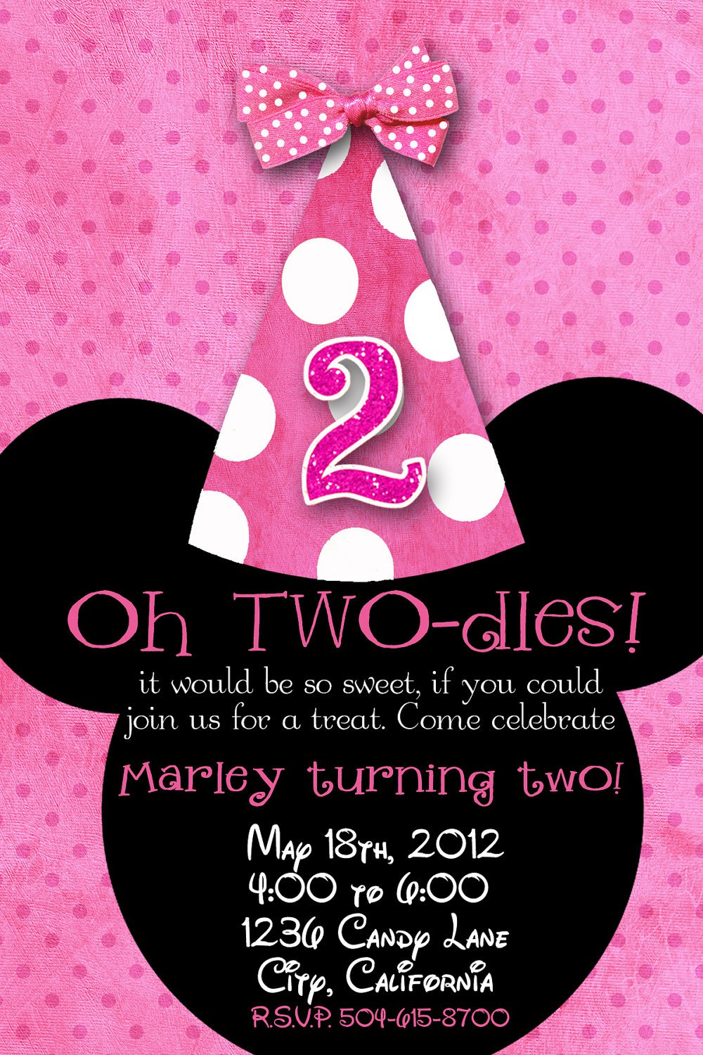 Minnie Mouse Second Birthday Invitations