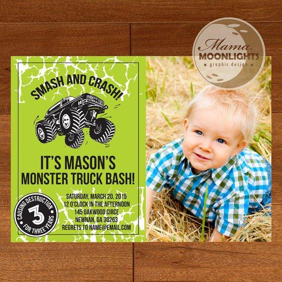 Monster Truck Invitation Boy Printable