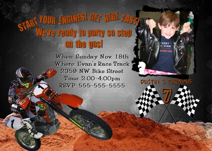 Motocross Birthday Invitations