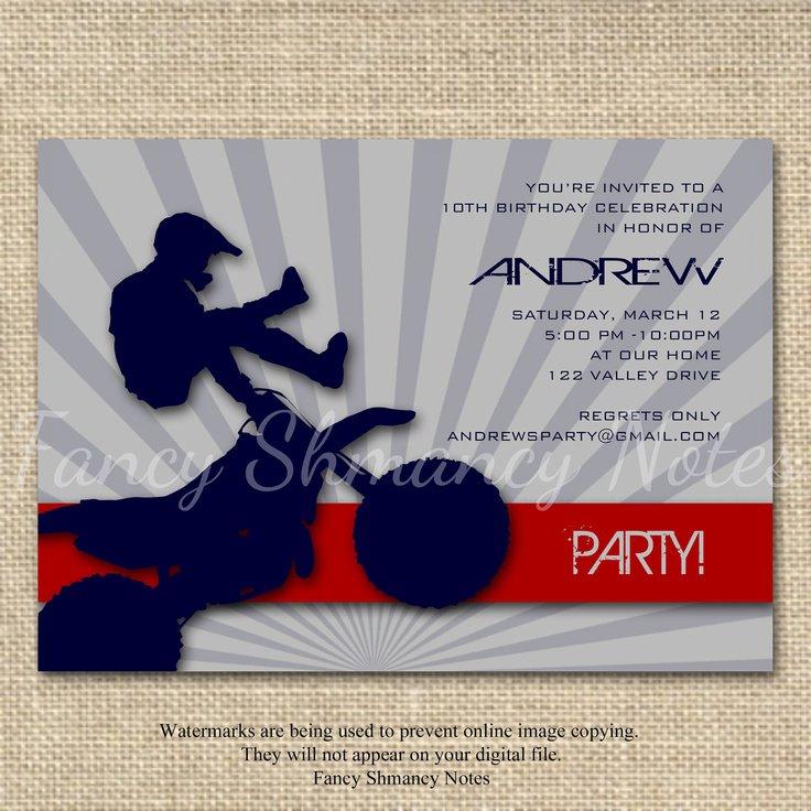 Motocross Birthday Invitations Printable