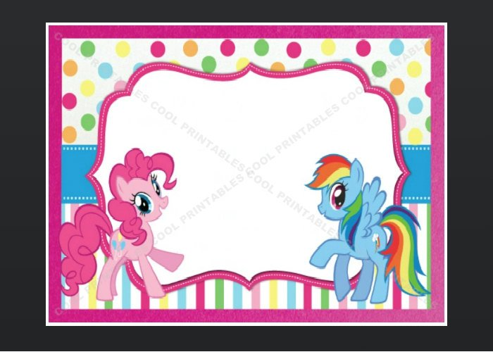 My Little Pony Blank Invitations