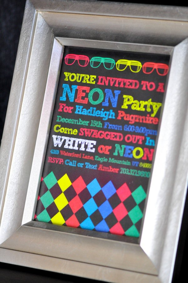 Neon Glow In The Dark Party Invitations