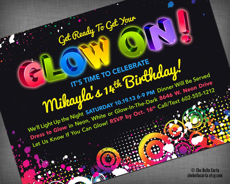 Neon Glow Party Invitations