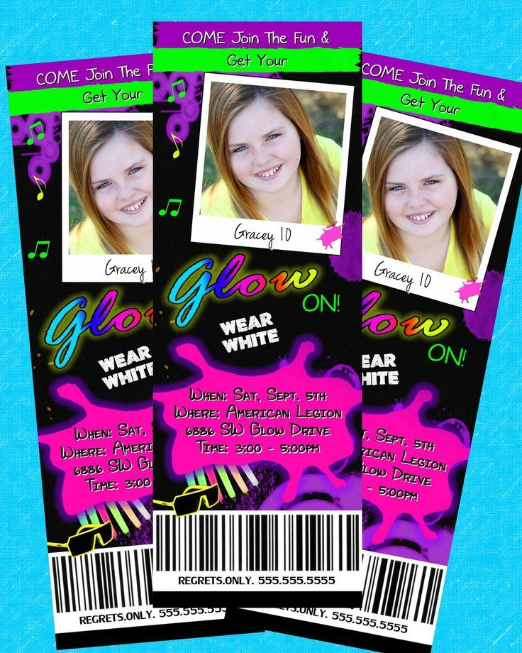 Neon Printable Birthday Invitations Teenager