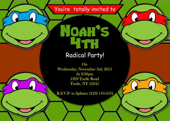 Ninja Turtles Birthday Invitations Printable