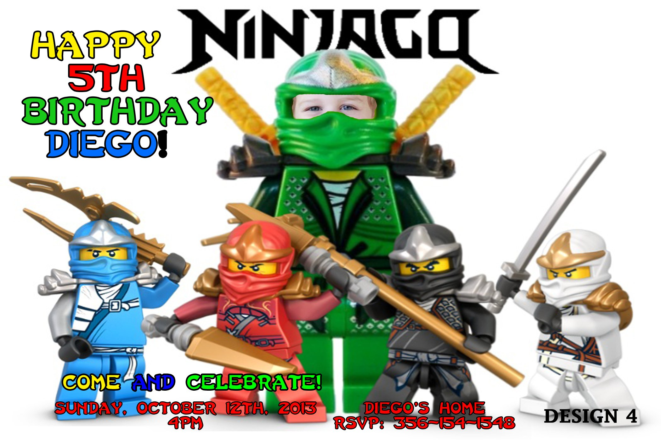 Ninjago Birthday Invitations Printable