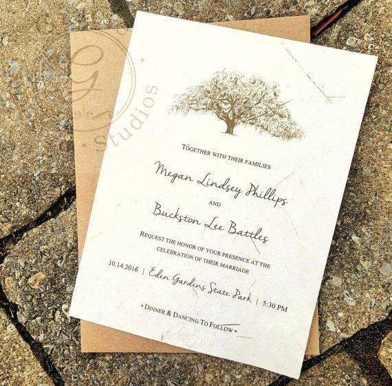 Oak Tree Wedding Invitations Etsy