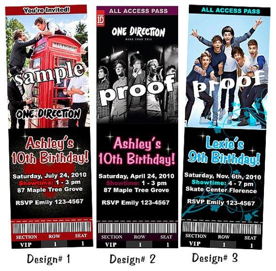One Direction Birthday Invitations Custom