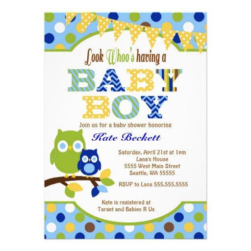 Owl Boy Baby Shower Invitations