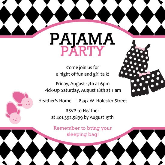 Pajama Party Birthday Invitations Templates