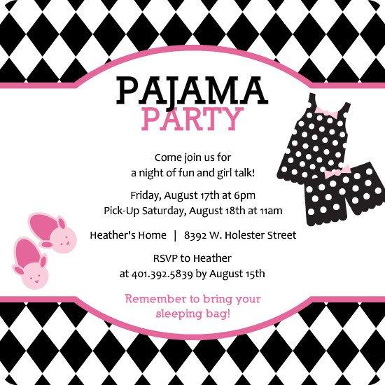 Pajama Party Birthday Invitations Templates