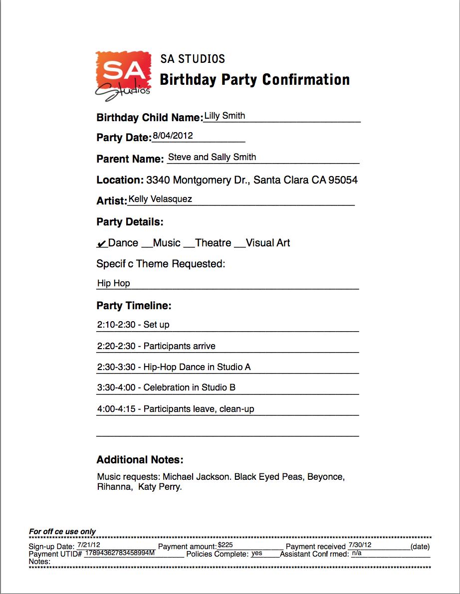 Party Agenda  Sample