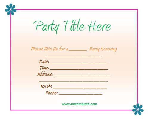 Party Invitation Templates Free Download