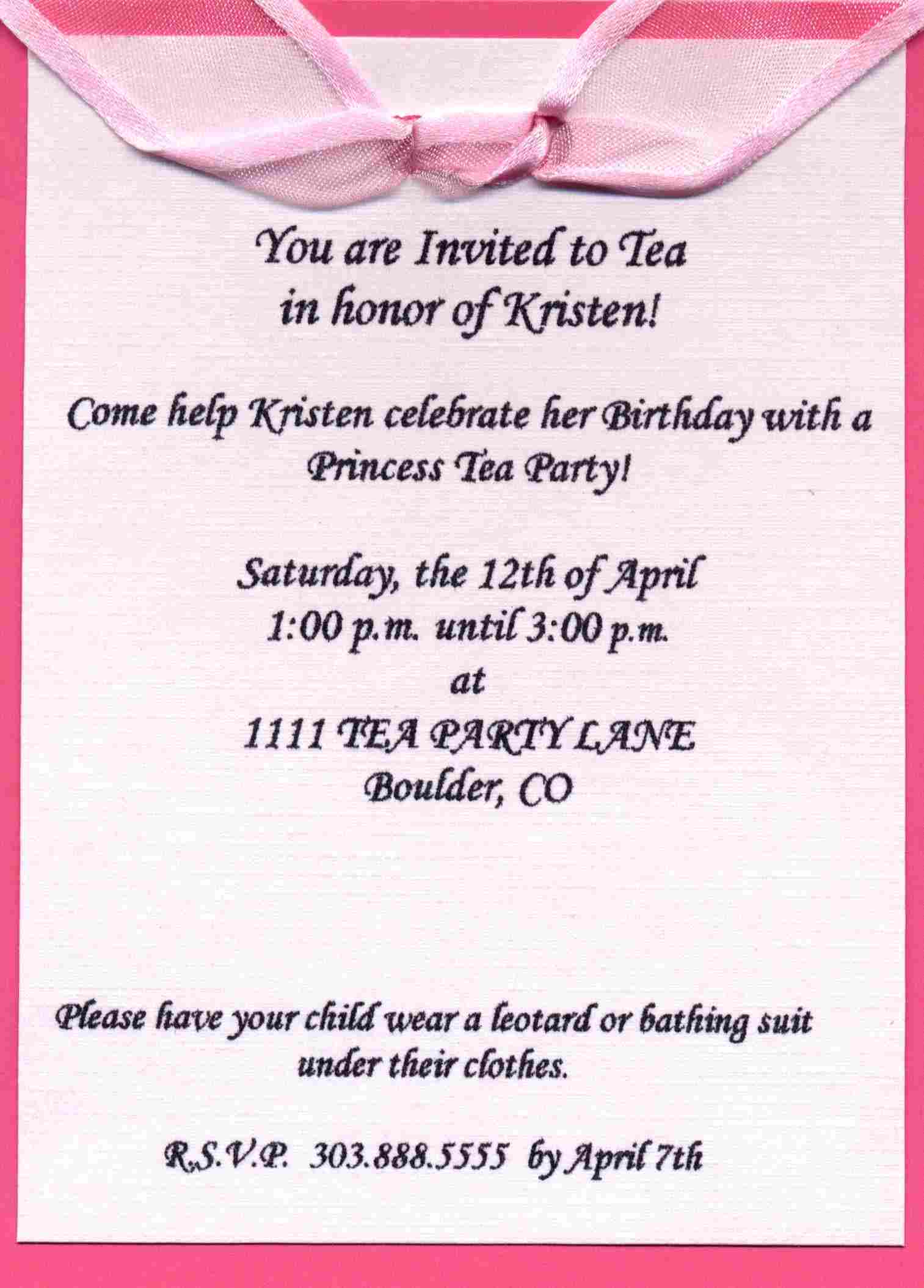 Party Invitation Wording Examples