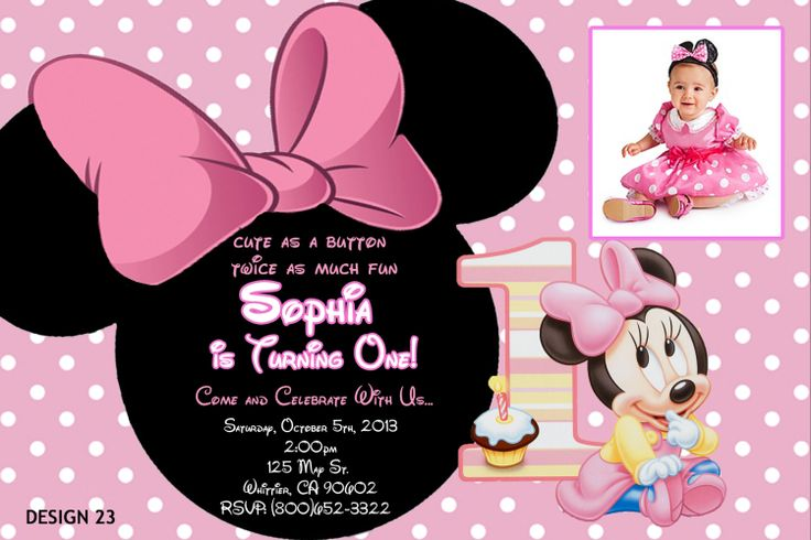 Personalized Baby Minnie Mouse Invitations
