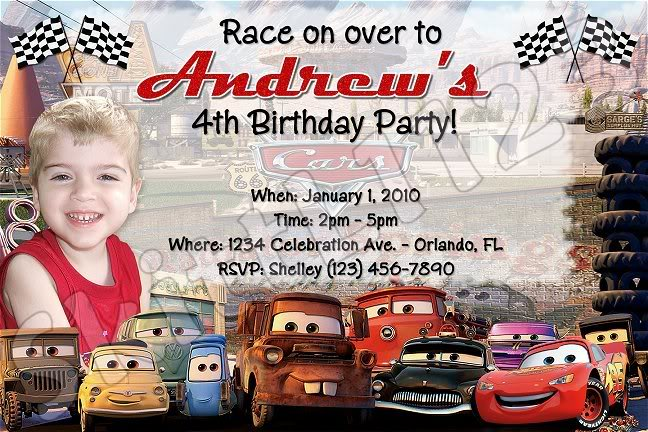 Personalized Disney Cars Birthday Party Invitations