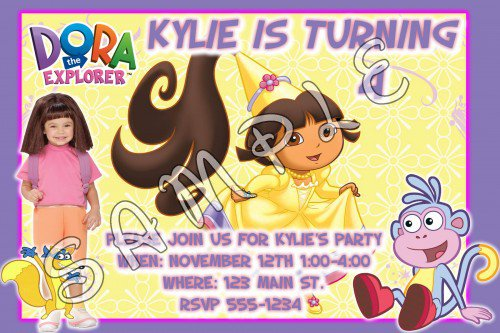 Personalized Dora Birthday Invitations