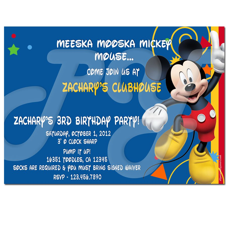 Personalized Mickey Mouse Clubhouse Party Invitations