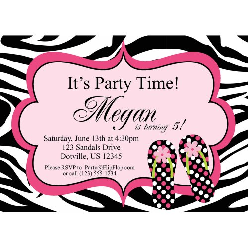 Pink And Zebra Birthday Invitations