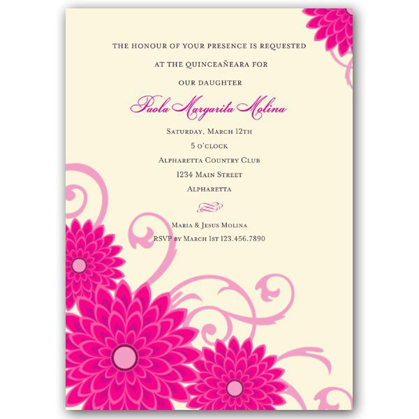 Pink Quinceanera Invitations