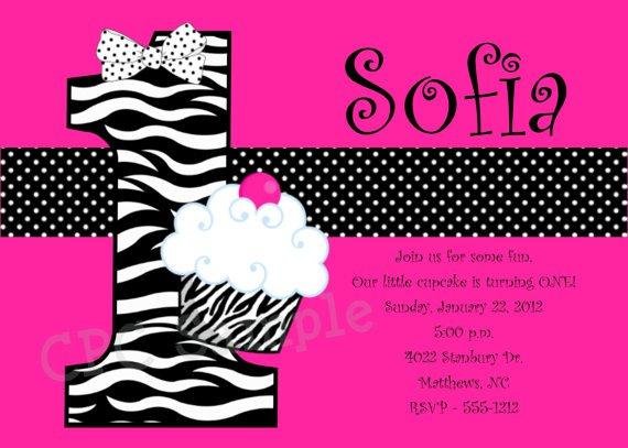 Pink Zebra Birthday Party Invitations