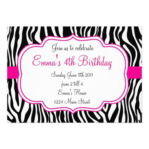 Pink Zebra Invitations