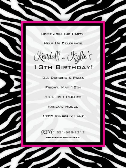 Pink Zebra Invitations Printable