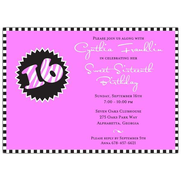 Pink Zebra Invitations Templates