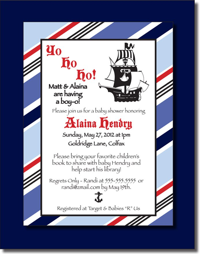 Pirate Baby Boy Shower Invitations