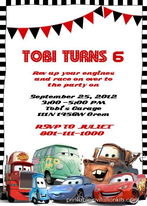 Pixar Cars Birthday Invitation Template