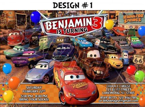Pixar Cars Birthday Invitations