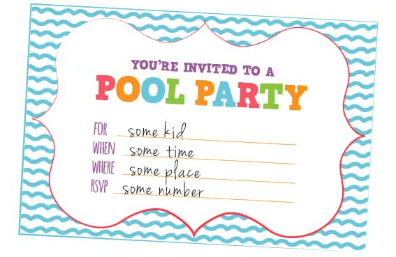 Pool Party Birthday Invitation Sayings