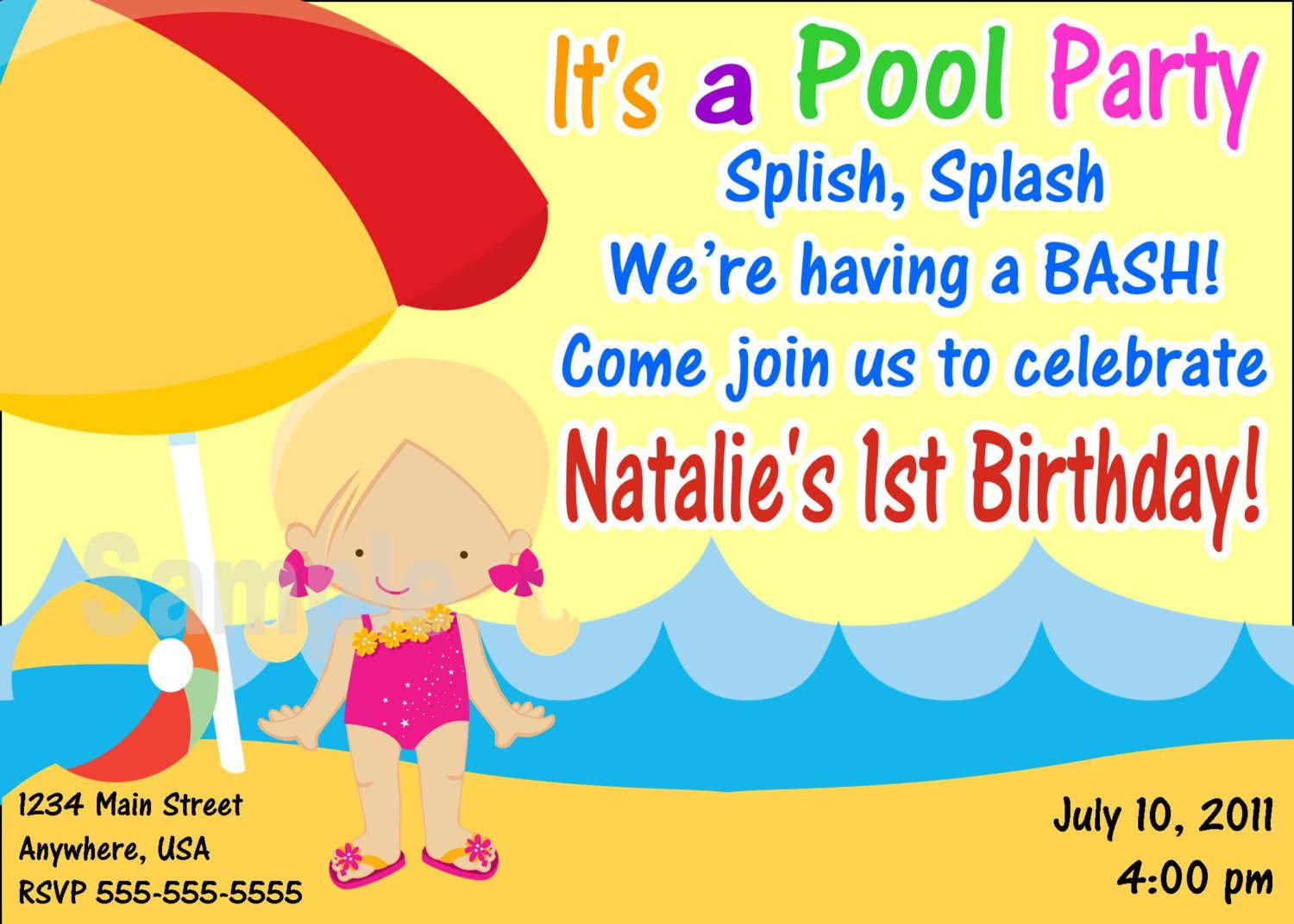 Pool Party Invitation Blank Template