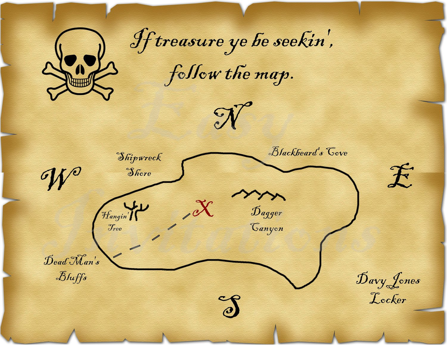 This is an image of Intrepid Printable Treasure Map Template
