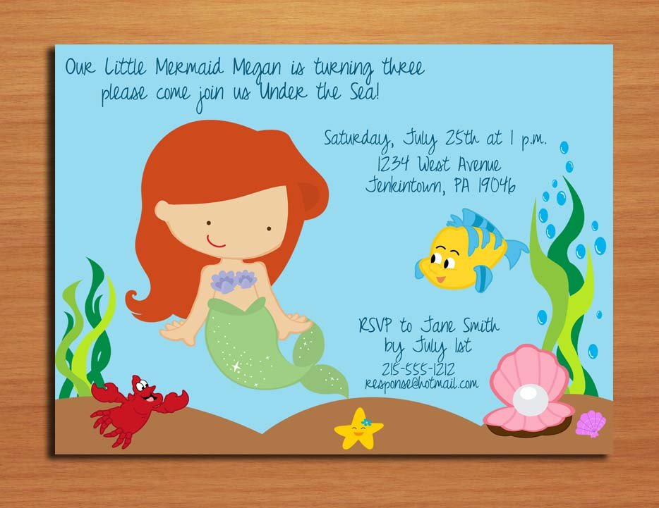 Princess Ariel Invitation Cards