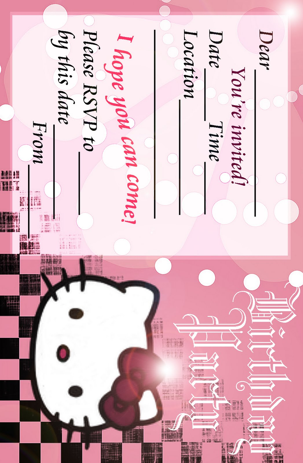 Print Hello Kitty Invitations Free
